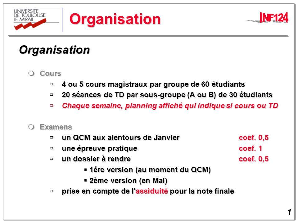 Organisation Organisation Cours