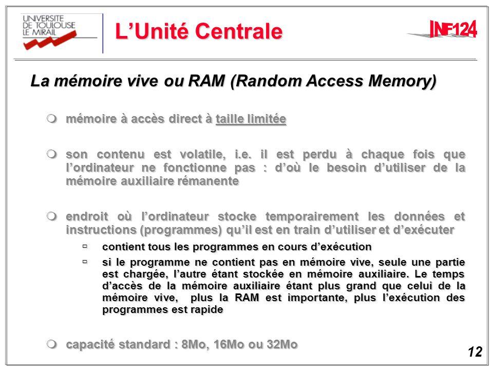 L'Unité Centrale La mémoire vive ou RAM (Random Access Memory)