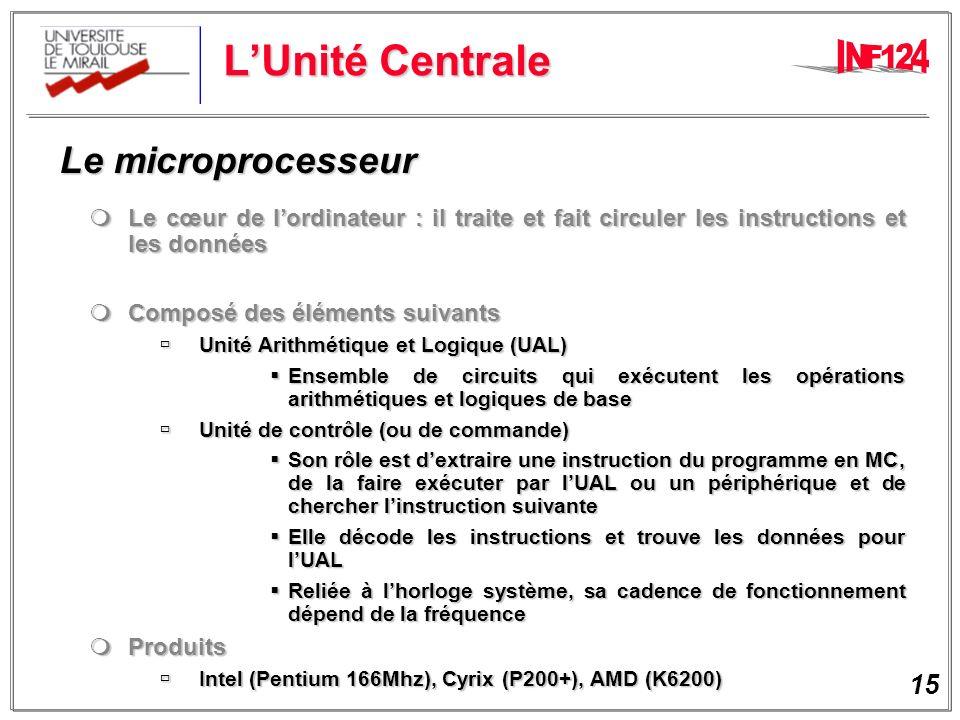 L'Unité Centrale Le microprocesseur
