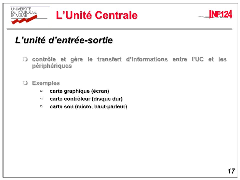 L'Unité Centrale L'unité d'entrée-sortie