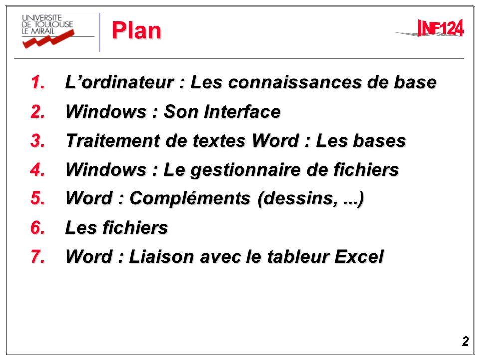 Plan 1. L'ordinateur : Les connaissances de base