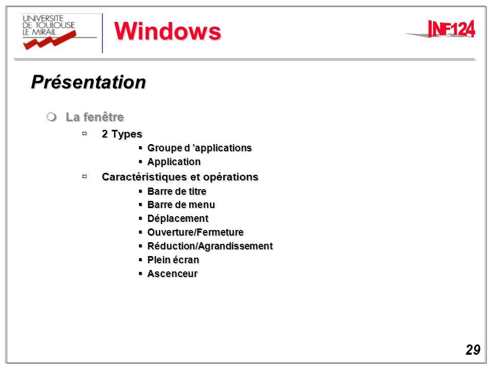 Windows Présentation La fenêtre 2 Types Caractéristiques et opérations