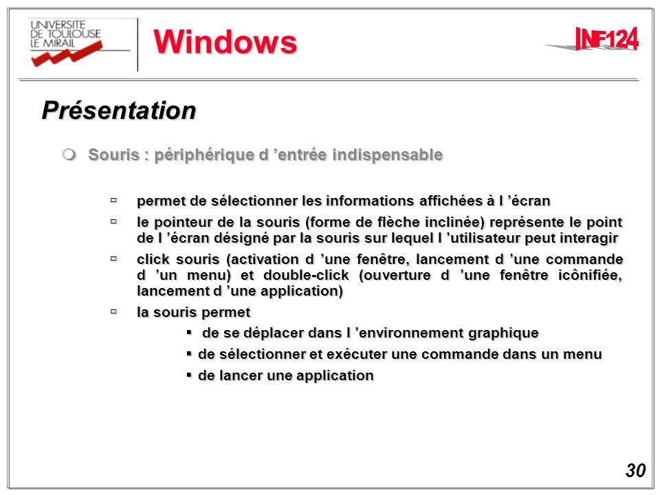 Windows Présentation Souris : périphérique d 'entrée indispensable