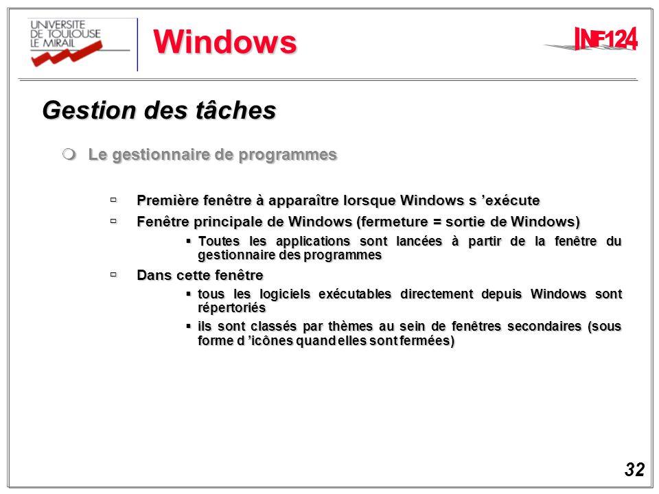 Windows Gestion des tâches Le gestionnaire de programmes