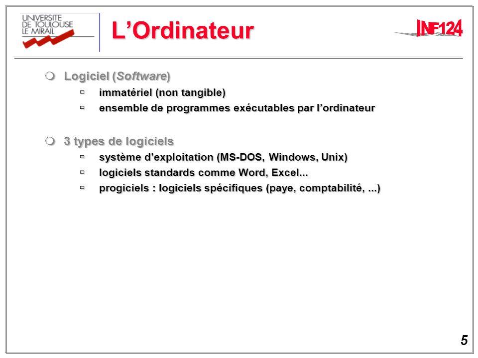 L'Ordinateur Logiciel (Software) 3 types de logiciels