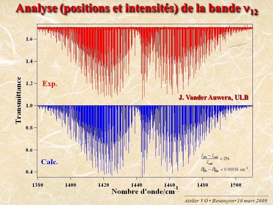 Analyse (positions et intensités) de la bande 12
