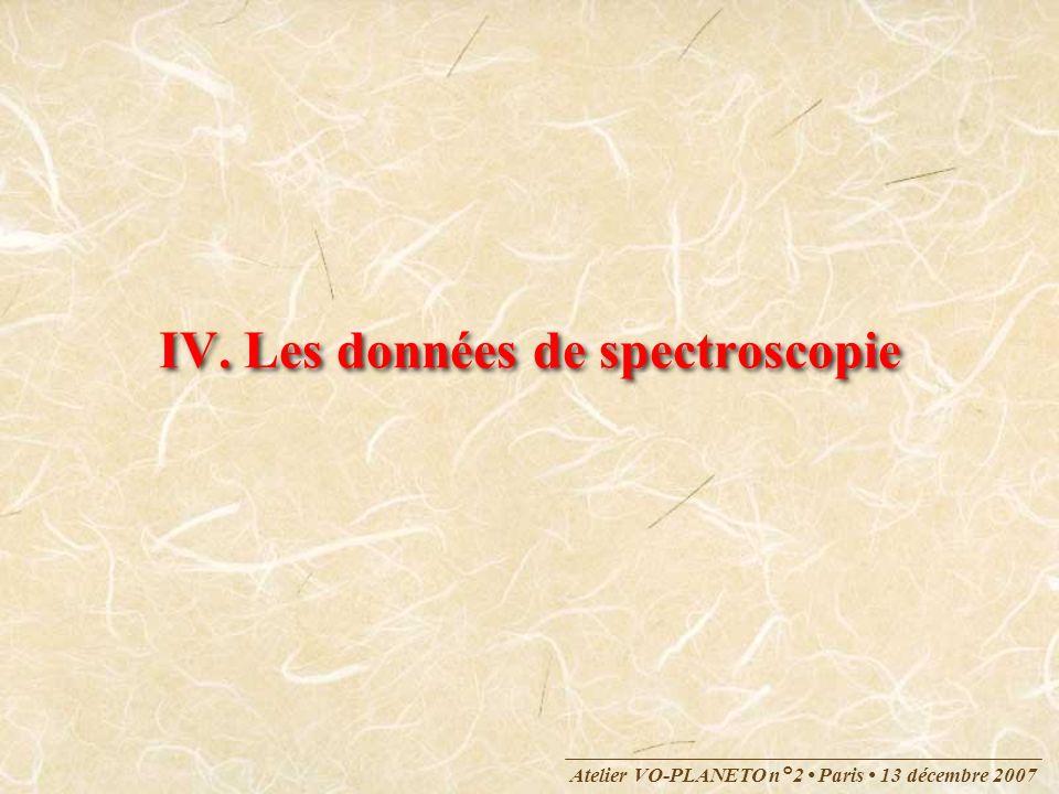 IV. Les données de spectroscopie