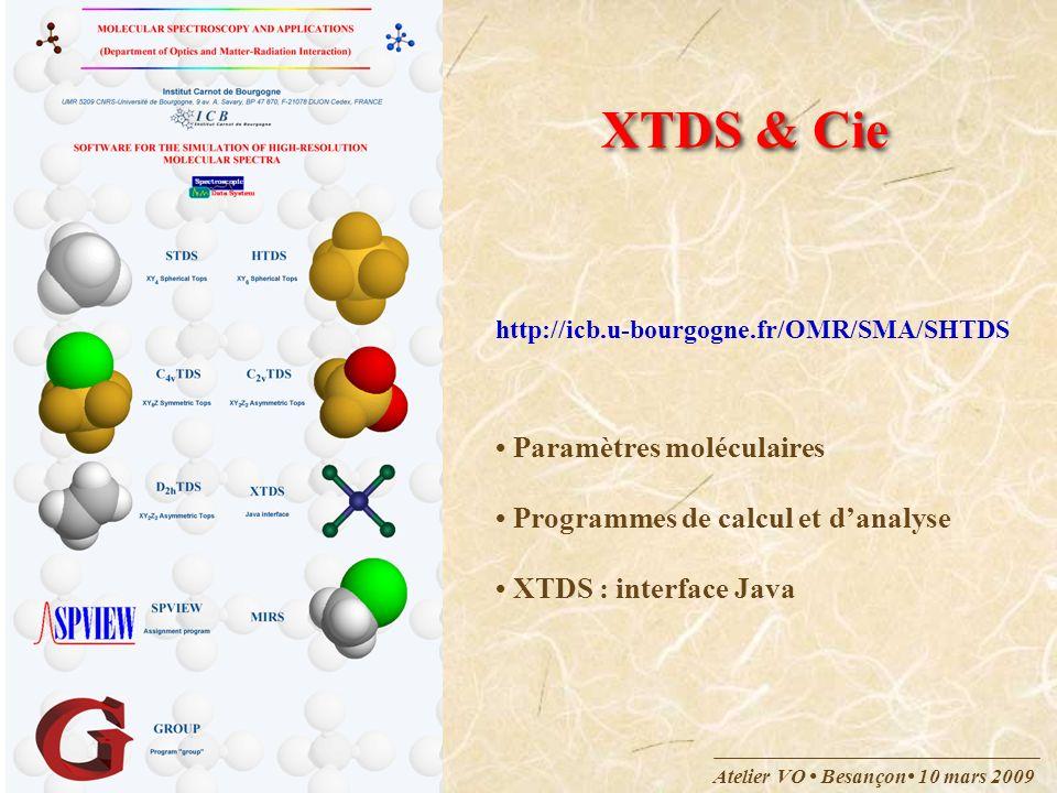 XTDS & Cie • Paramètres moléculaires