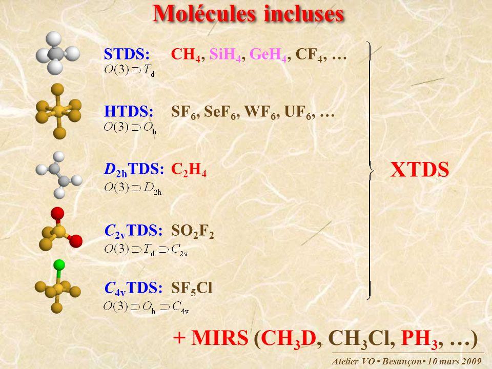 Molécules incluses XTDS + MIRS (CH3D, CH3Cl, PH3, …)