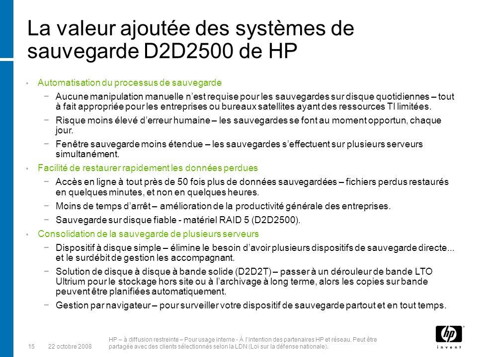 La valeur ajoutée des systèmes de sauvegarde D2D2500 de HP