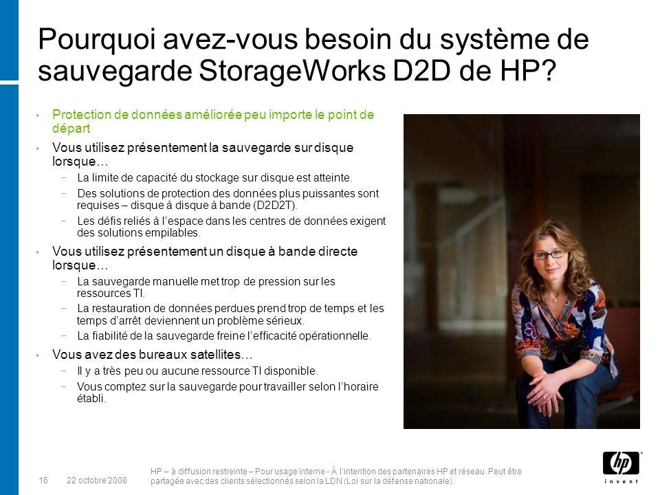 Pourquoi avez-vous besoin du système de sauvegarde StorageWorks D2D de HP
