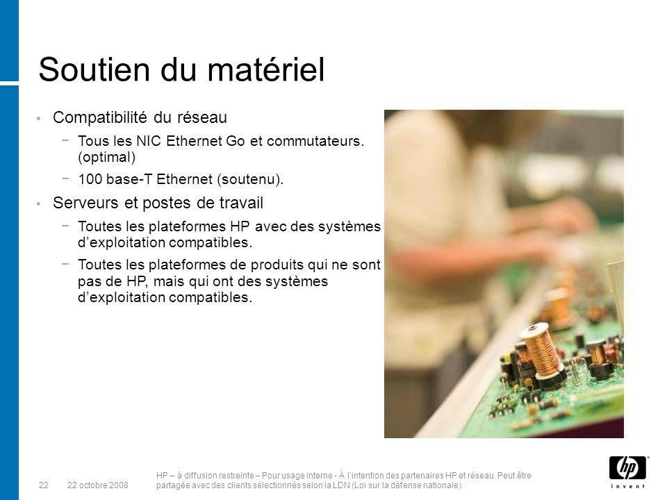 Soutien du matériel Compatibilité du réseau