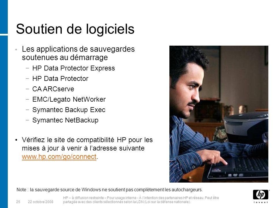 Soutien de logiciels Les applications de sauvegardes soutenues au démarrage. HP Data Protector Express.