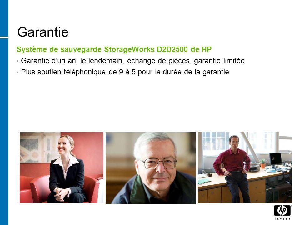 Garantie Système de sauvegarde StorageWorks D2D2500 de HP
