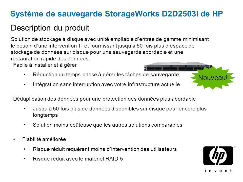 Système de sauvegarde StorageWorks D2D2503i de HP