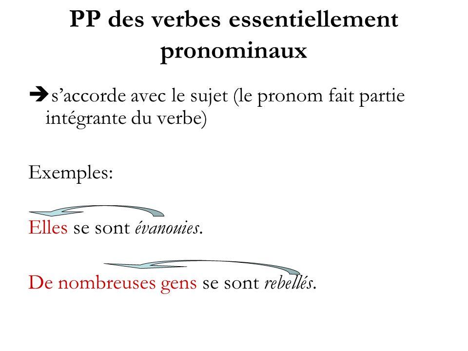 PP des verbes essentiellement pronominaux