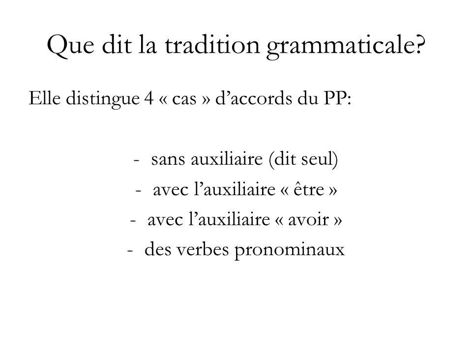 Que dit la tradition grammaticale