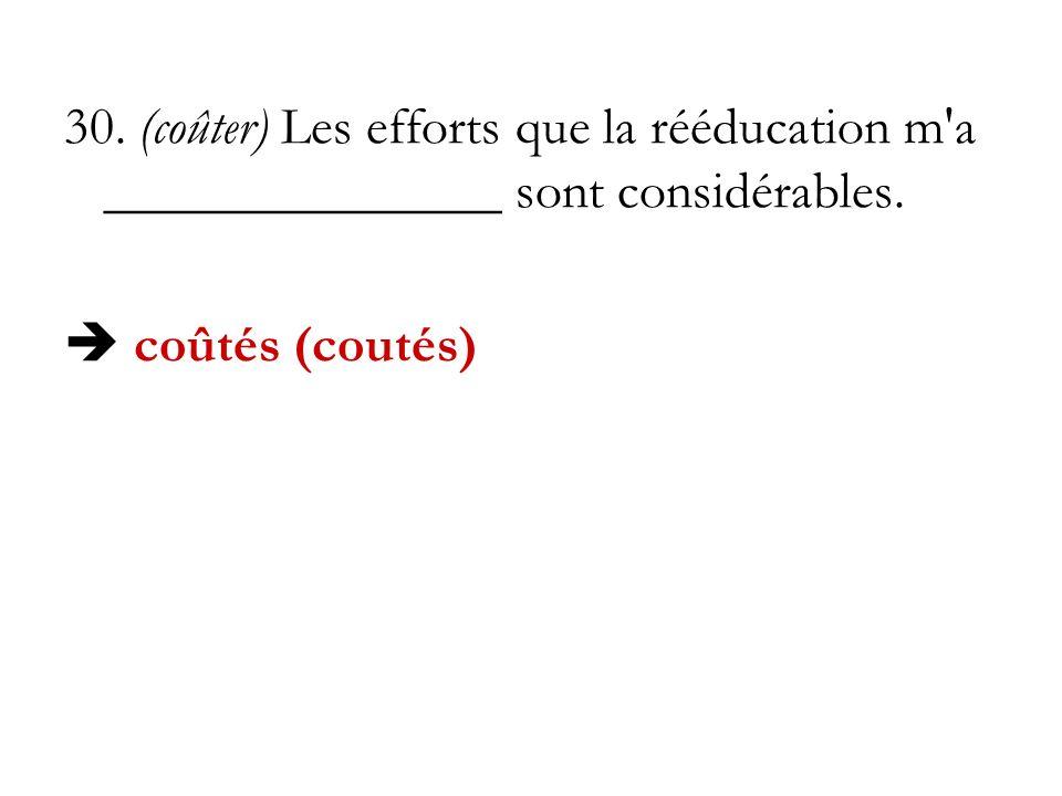 30. (coûter) Les efforts que la rééducation m a _______________ sont considérables.