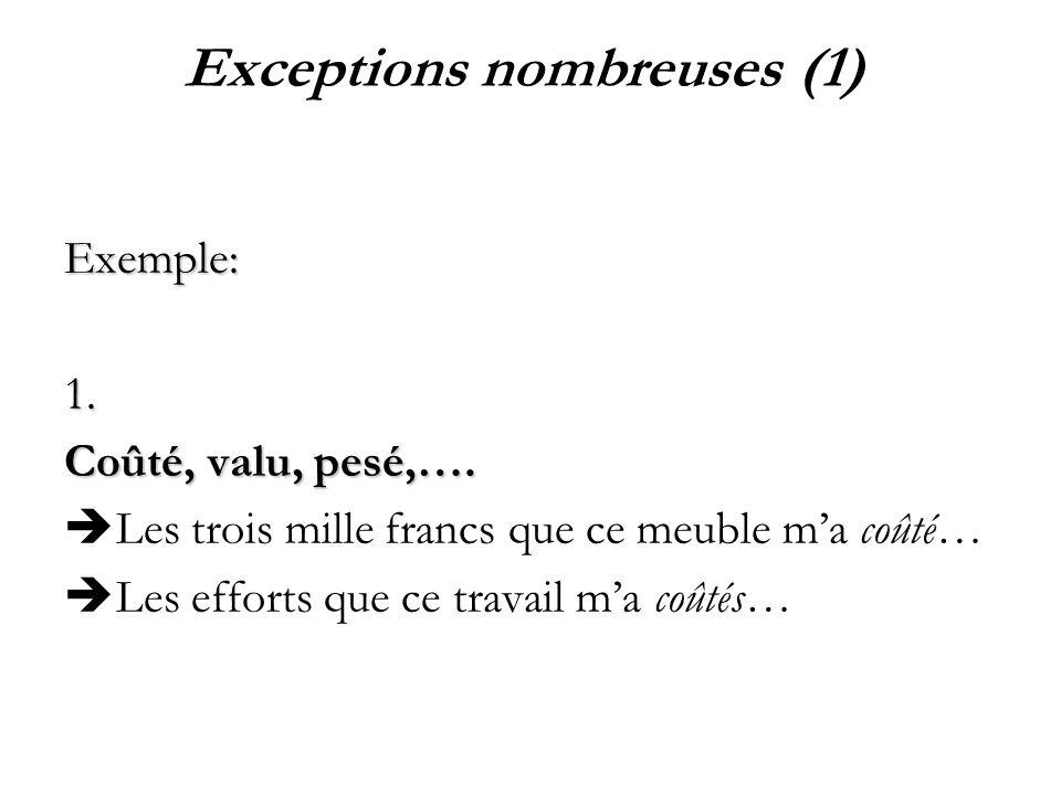 Exceptions nombreuses (1)