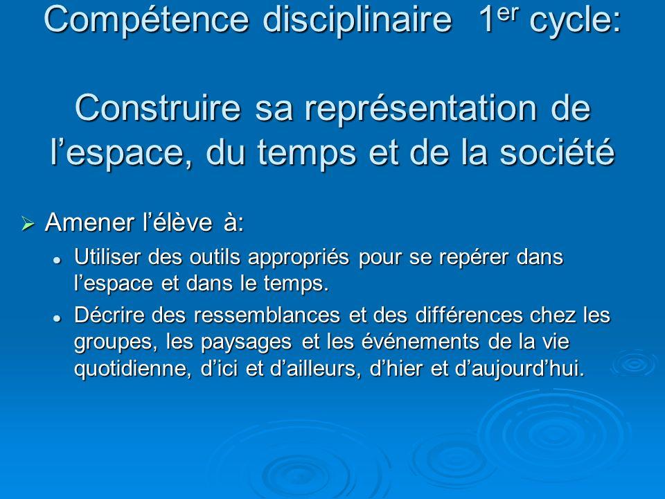 Compétence disciplinaire 1er cycle: Construire sa représentation de l'espace, du temps et de la société