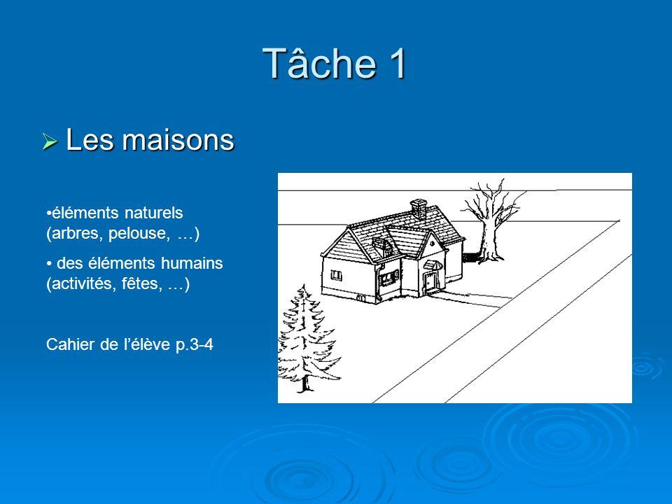 Tâche 1 Les maisons éléments naturels (arbres, pelouse, …)