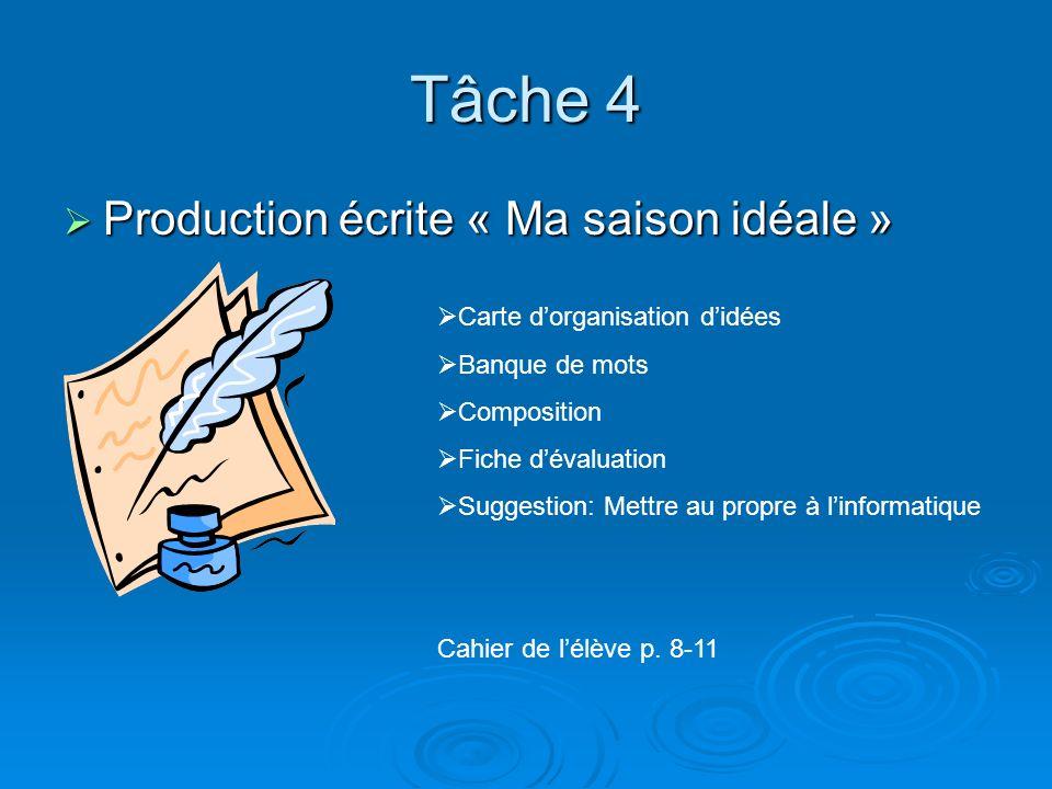 Tâche 4 Production écrite « Ma saison idéale »