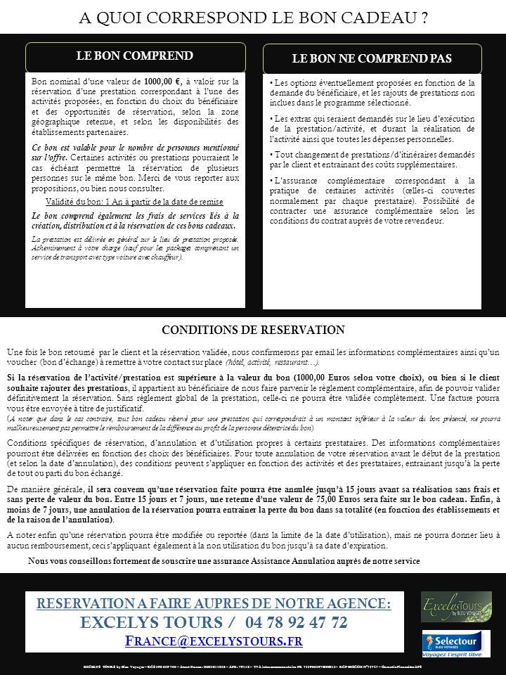 CONDITIONS DE RESERVATION