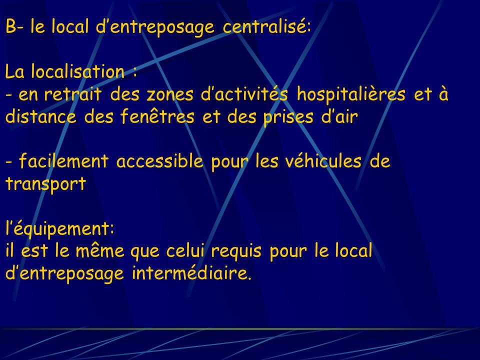 B- le local d'entreposage centralisé: La localisation : - en retrait des zones d'activités hospitalières et à distance des fenêtres et des prises d'air - facilement accessible pour les véhicules de transport l'équipement: il est le même que celui requis pour le local d'entreposage intermédiaire.