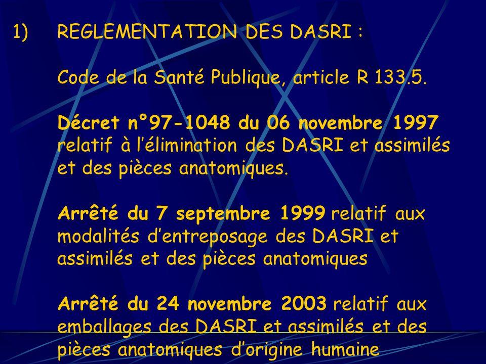 REGLEMENTATION DES DASRI : Code de la Santé Publique, article R 133. 5