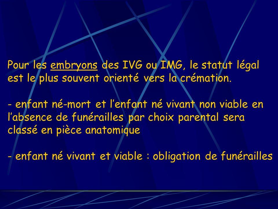 Pour les embryons des IVG ou IMG, le statut légal est le plus souvent orienté vers la crémation.