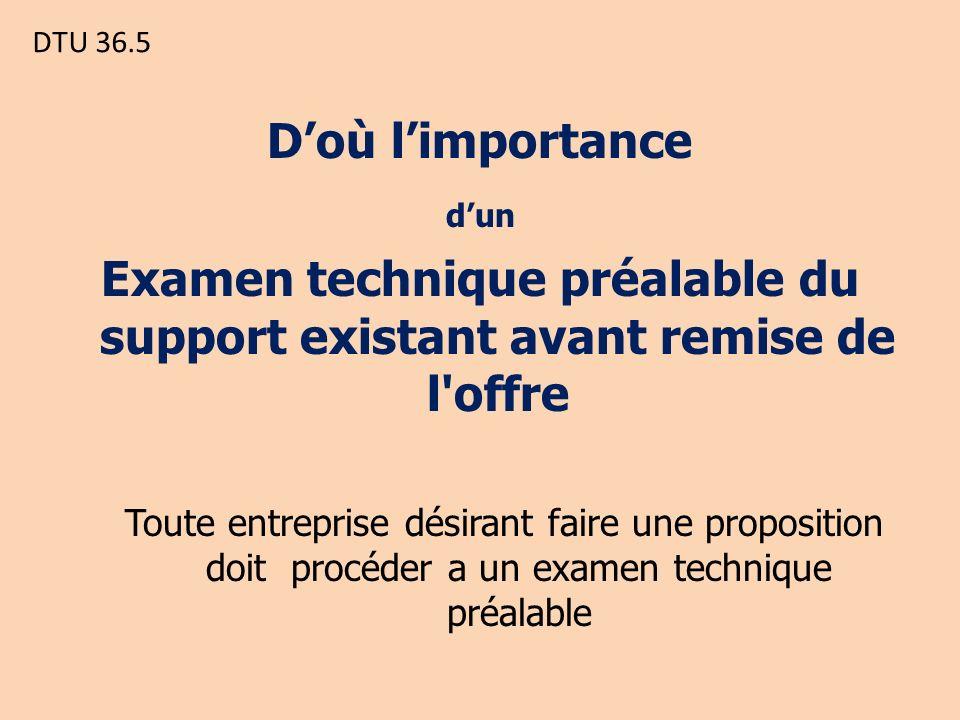 Examen technique préalable du support existant avant remise de l offre
