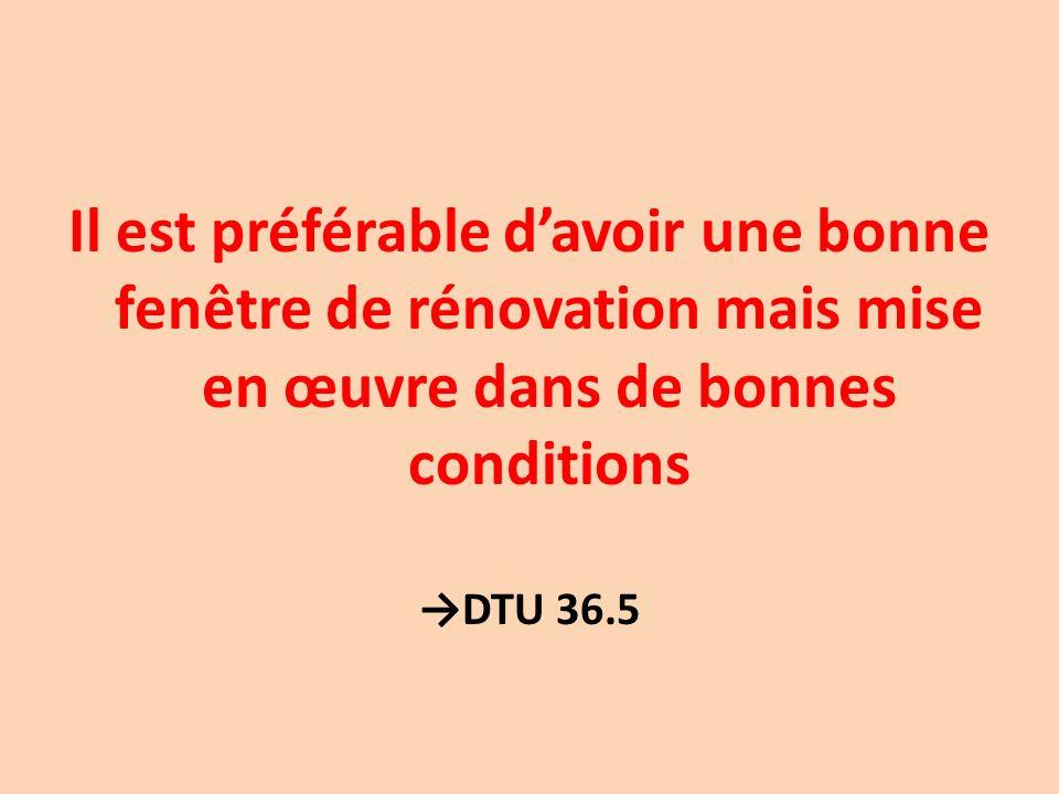 Il est préférable d'avoir une bonne fenêtre de rénovation mais mise en œuvre dans de bonnes conditions