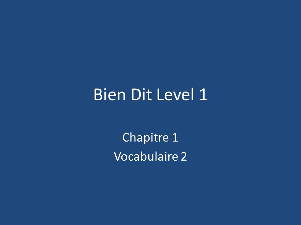 Bien Dit Level 1 Chapitre 1 Vocabulaire 2