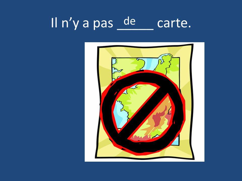 Il n'y a pas _____ carte. de