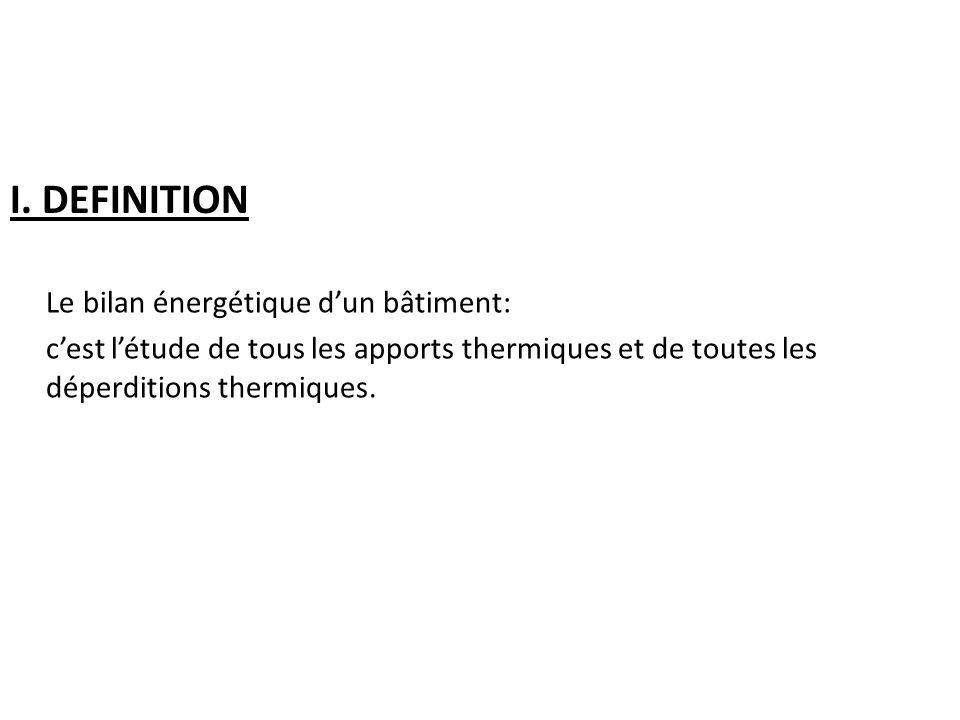 I. DEFINITION Le bilan énergétique d'un bâtiment: