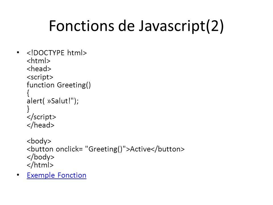 Fonctions de Javascript(2)