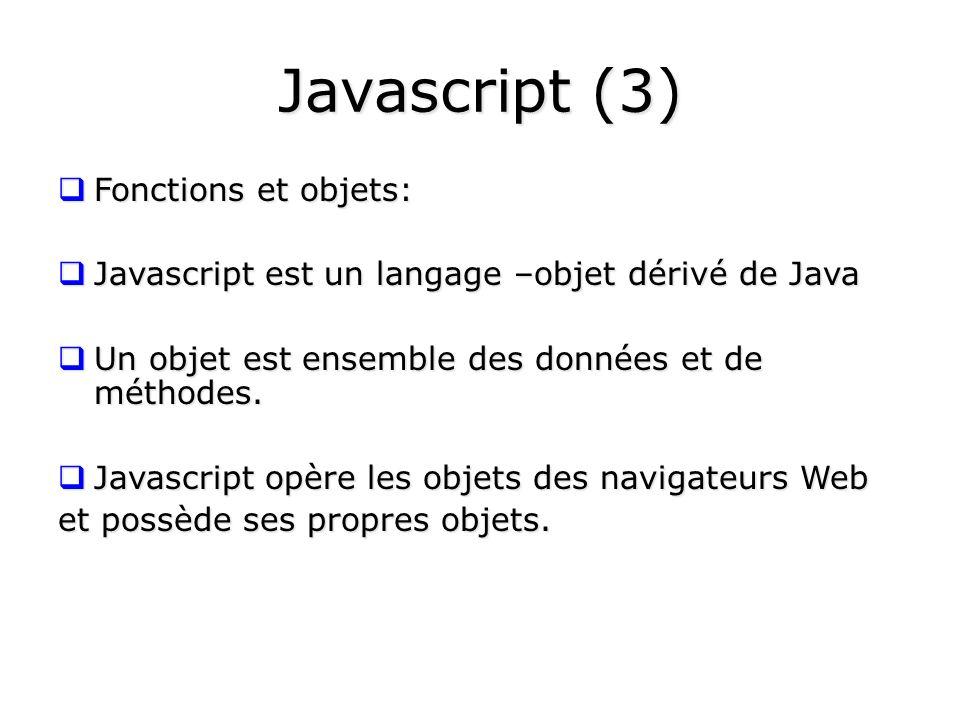 Javascript (3) Fonctions et objets: