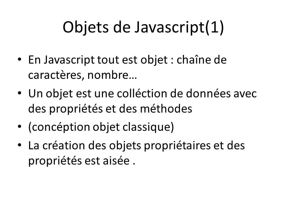 Objets de Javascript(1)