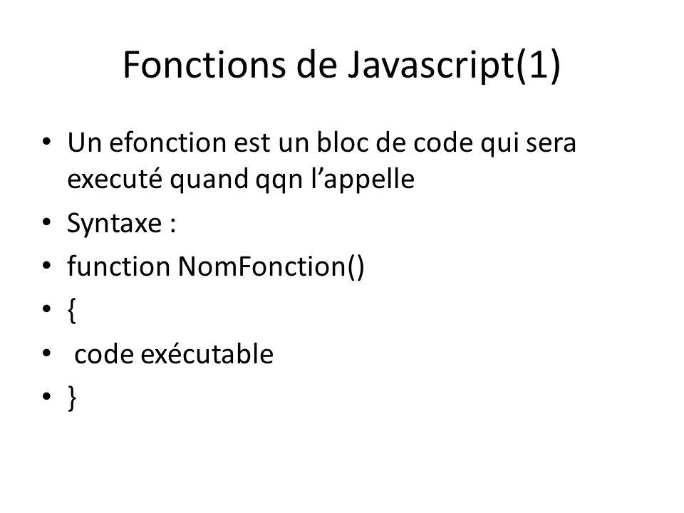 Fonctions de Javascript(1)