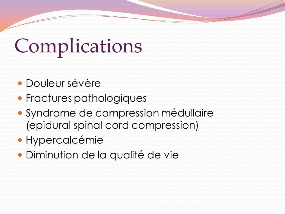 Complications Douleur sévère Fractures pathologiques