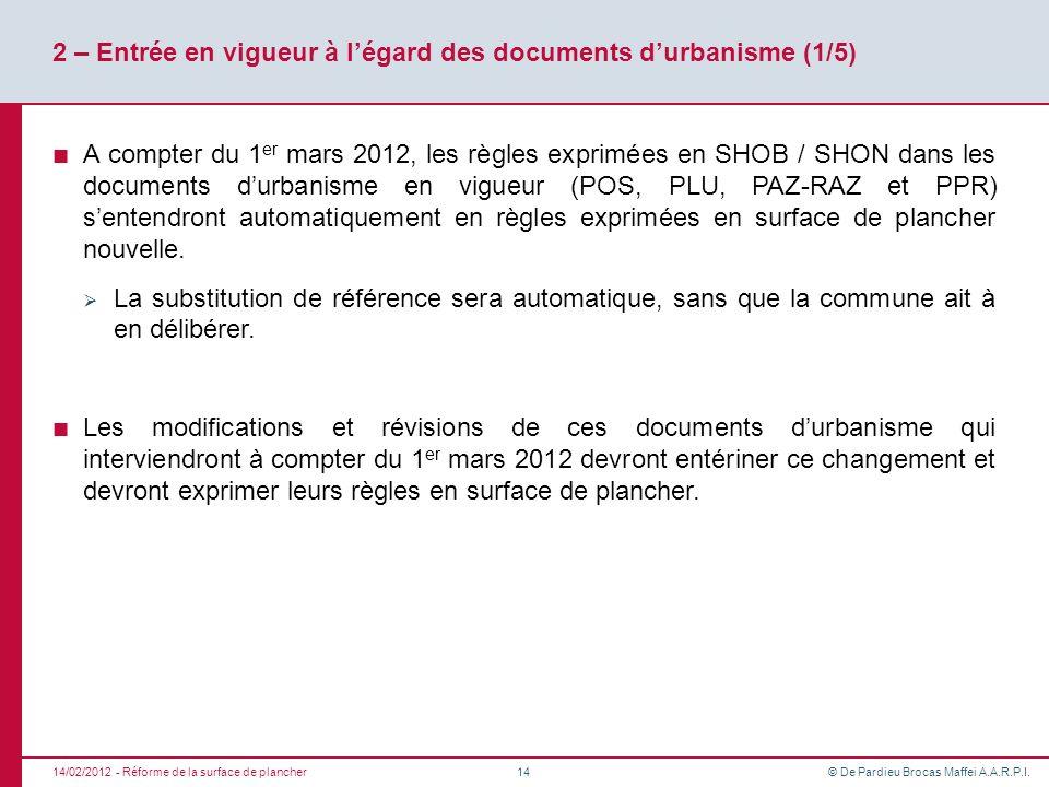 2 – Entrée en vigueur à l'égard des documents d'urbanisme (1/5)