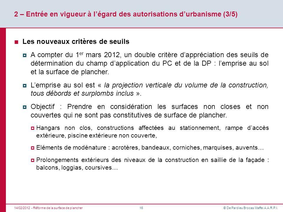 2 – Entrée en vigueur à l'égard des autorisations d'urbanisme (3/5)