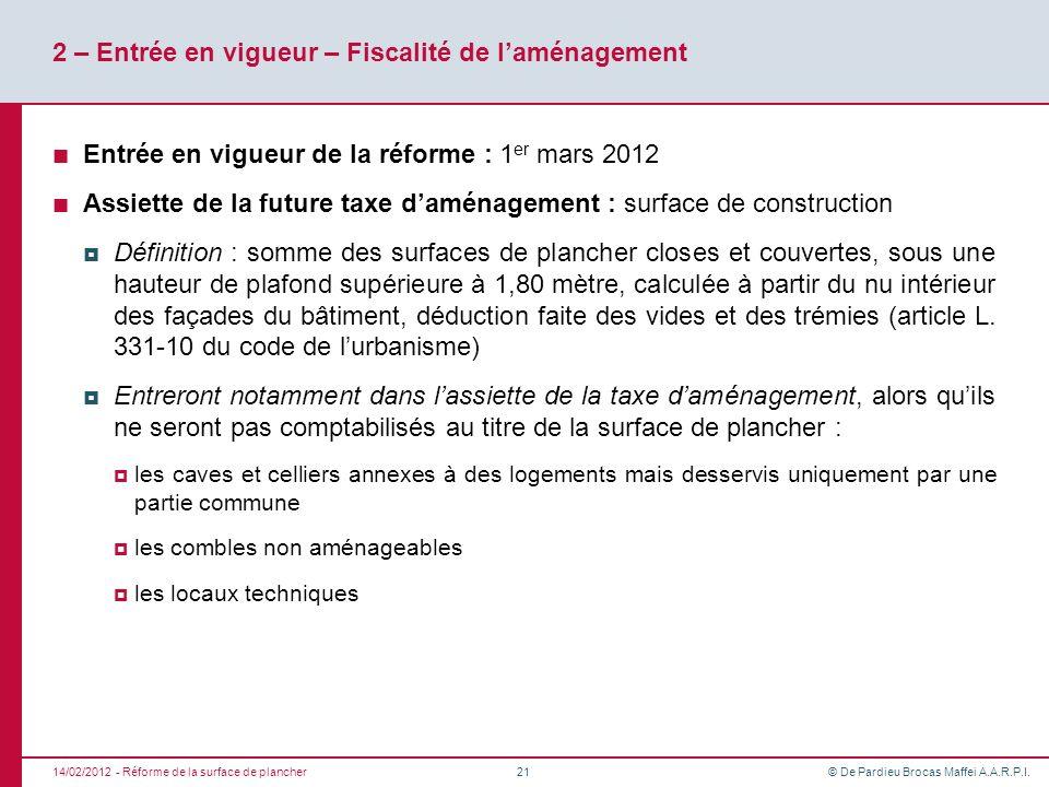 2 – Entrée en vigueur – Fiscalité de l'aménagement