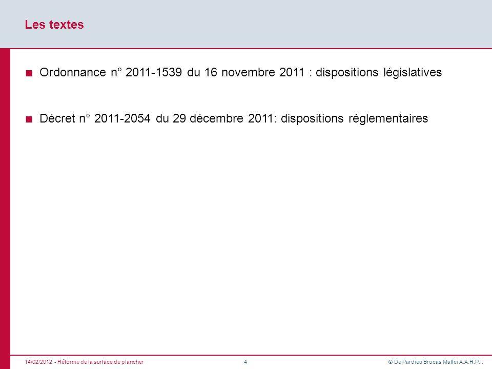 Décret n° 2011-2054 du 29 décembre 2011: dispositions réglementaires