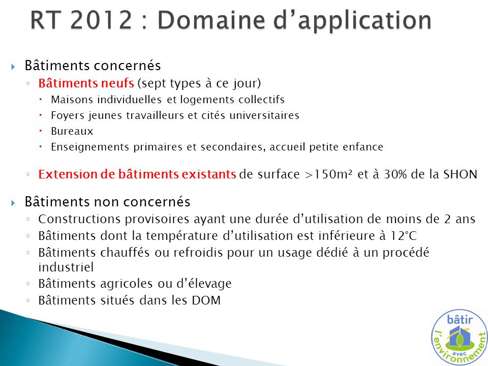 RT 2012 : Domaine d'application