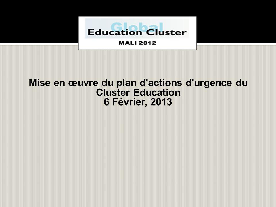 Mise en œuvre du plan d actions d urgence du Cluster Education