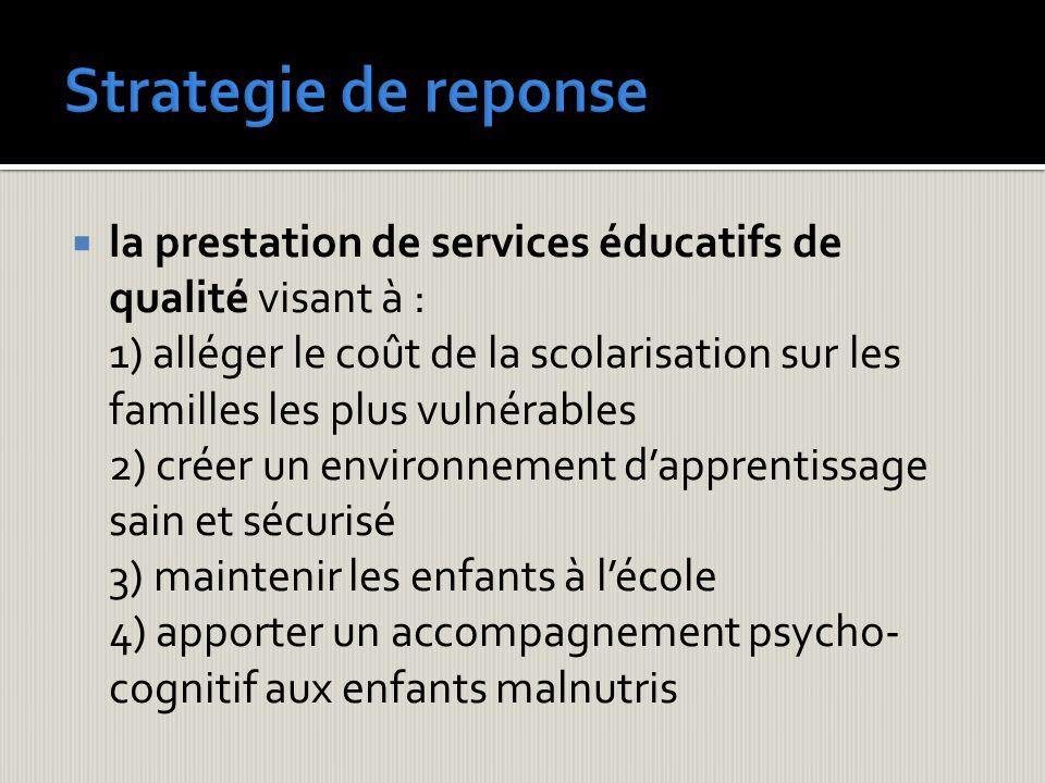 Strategie de reponse la prestation de services éducatifs de qualité visant à :