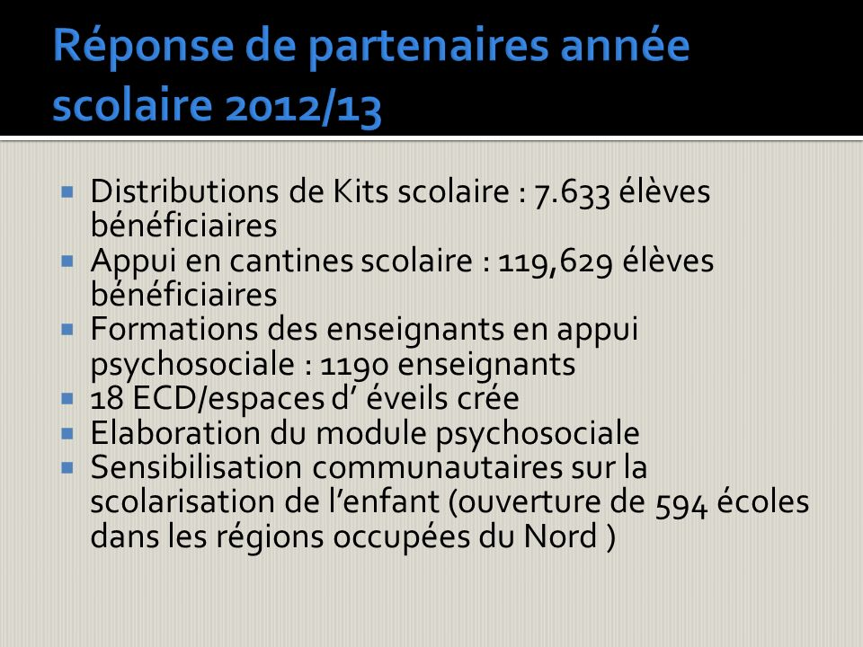 Réponse de partenaires année scolaire 2012/13