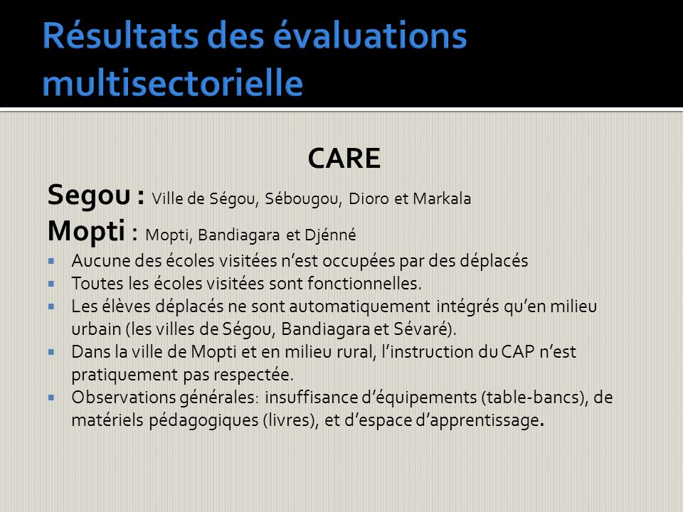 Résultats des évaluations multisectorielle