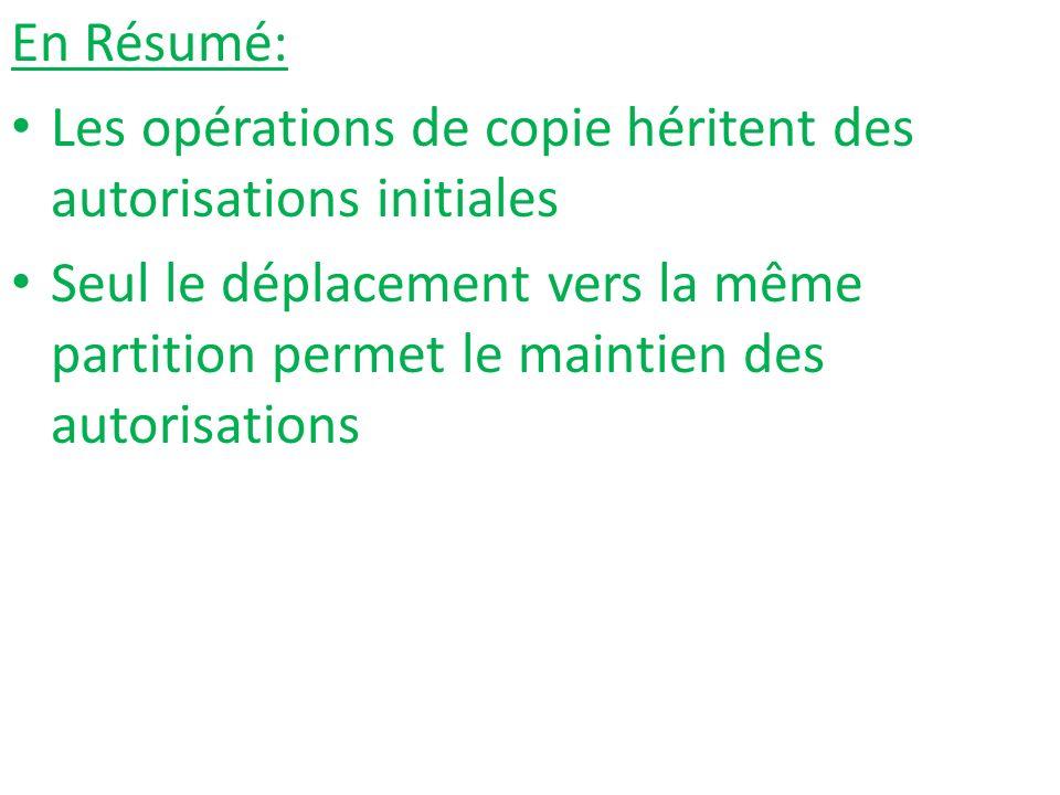 En Résumé: Les opérations de copie héritent des autorisations initiales.
